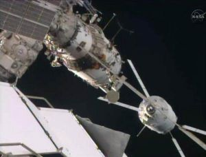 EUROPE'S LAST ATV CARGO SHIP HOOKS UP WITH SPACE STATION