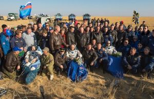 THREE-MAN SPACE STATION CREW RETURNS TO EARTH