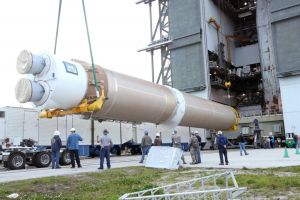 ATLAS 5 ROCKET ASSEMBLED FOR NASA SATELLITE LAUNCH