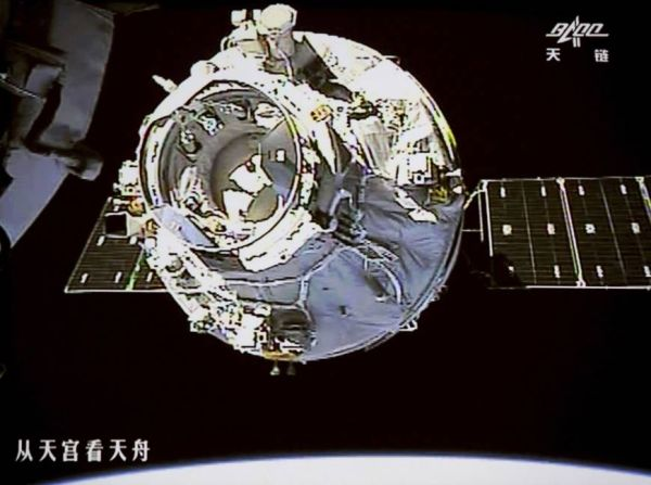 CHINA'S FIRST UNMANNED SPACE CARGO SHIP DOCKS WITH CHINESE SPACE STATION
