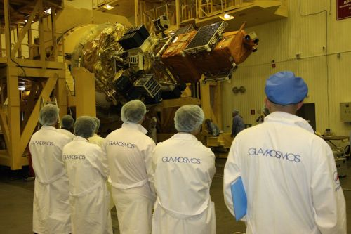 SOYUZ ROLLED OUT FOR LAUNCH OF MULTINATIONAL SATELLITE CLUSTER