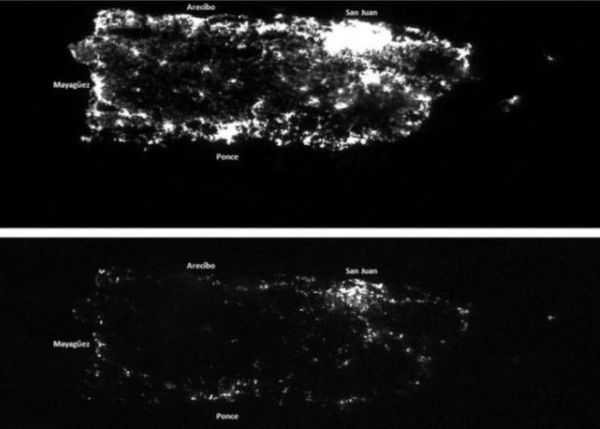 US GOVERNMENT SATELLITE IMAGE SHOWS PUERTO RICO BLACKOUT