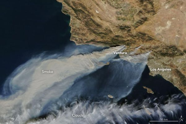 NASA SATELLITE CAPTURES RAGING SOUTHERN CALIFORNIA FIRES FROM SPACE