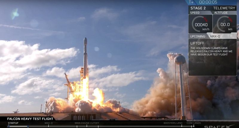 SpaceX launches its powerful Falcon Heavy rocket for the first time