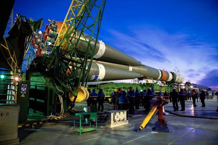 Soyuz rocket positioned on launch pad for station resupply flight