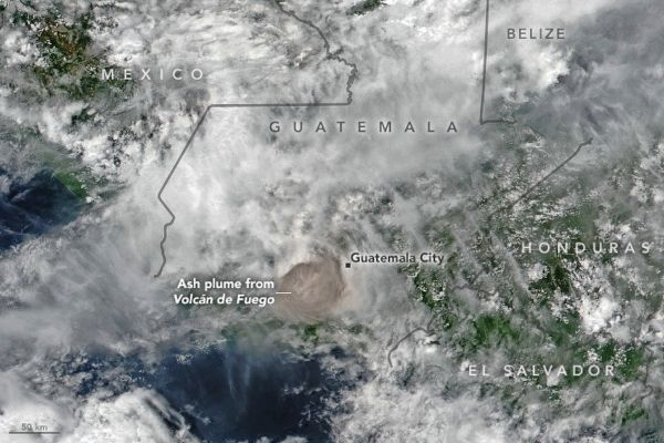 DEADLY FUEGO VOLCANO ERUPTION IN GUATEMALA SPOTTED FROM SPACE