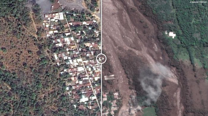 SATELLITE IMAGES SHOW DESTRUCTION CAUSED BY GUATEMALA'S FUEGO VOLCANO