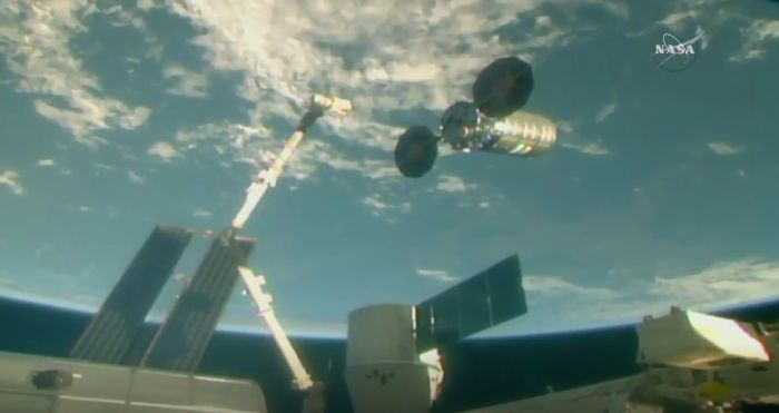 CYGNUS SPACECRAFT LEAVES THE SPACE STATION AFTER GIVING IT AN ORBITAL BOOST