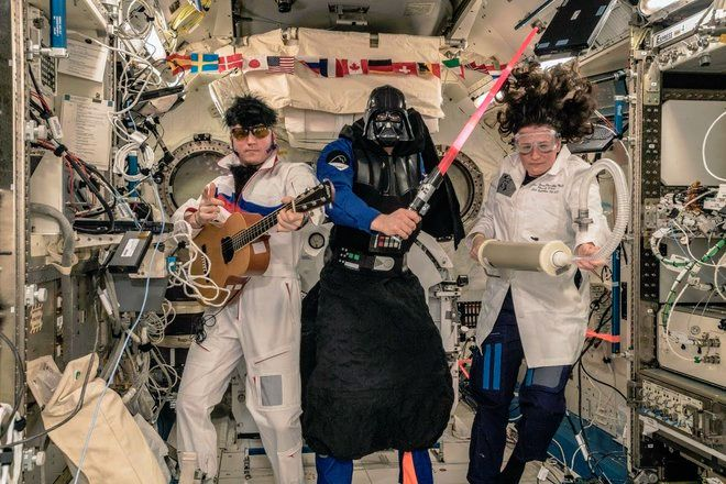 Elvis and Darth Vader Invade Space Station for Astronauts' Halloween