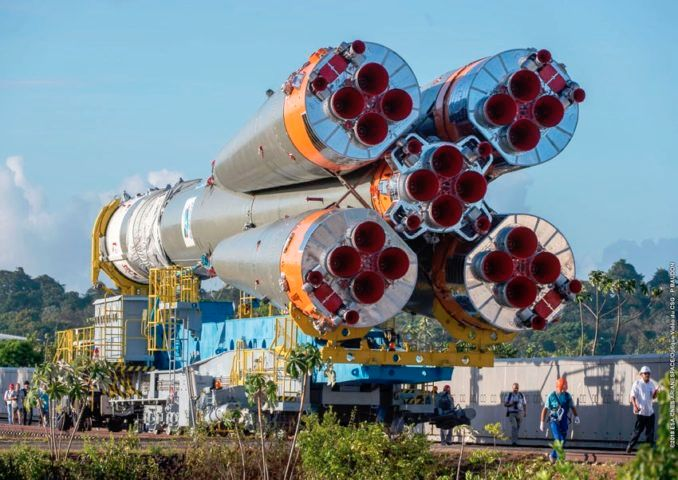 SOYUZ ROCKET ROLLS OUT FOR LAUNCH OF EUROPEAN WEATHER SATELLITE