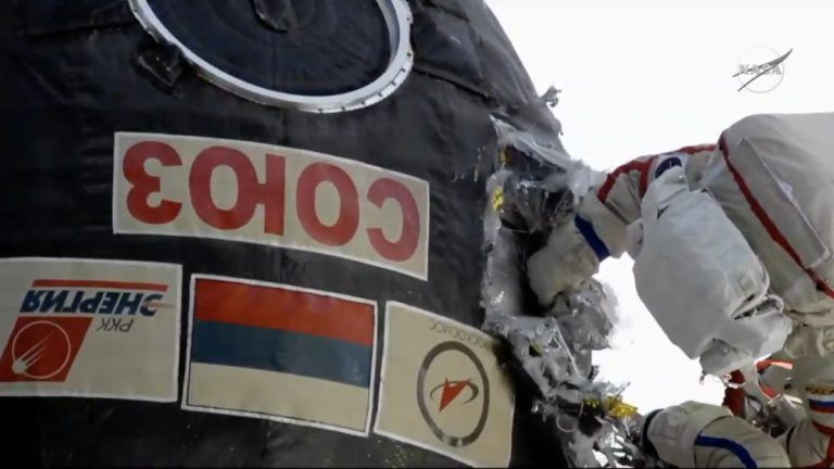 RUSSIAN SPACEWALKERS CUT INTO SOYUZ SPACESHIP TO INSPECT LEAK REPAIR