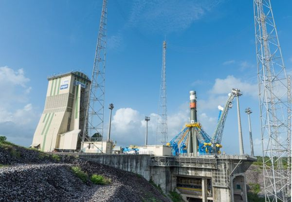 SOYUZ RAISED ON LAUNCH PAD IN FRENCH GUIANA FOR ARIANESPACE'S LAST FLIGHT OF 2018
