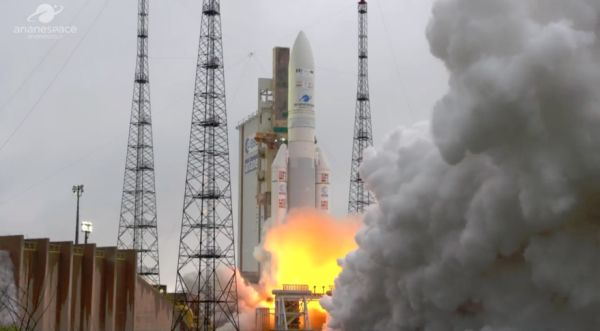 Arianespace launches Indian, Saudi telecom satellites in year's first Ariane 5 mission