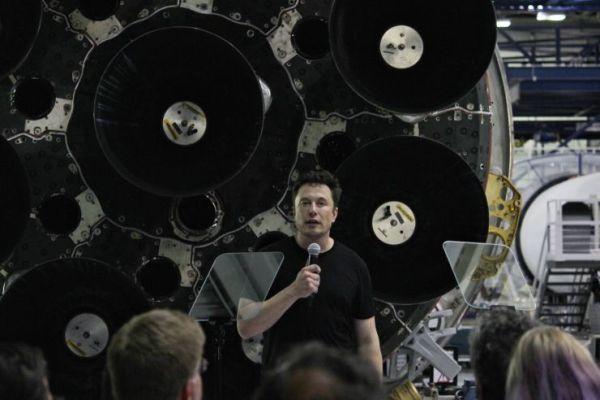 ELON MUSK SHOWS SPACEX'S FIRST 60 STARLINK INTERNET SATELLITES PACKED FOR LAUNCH