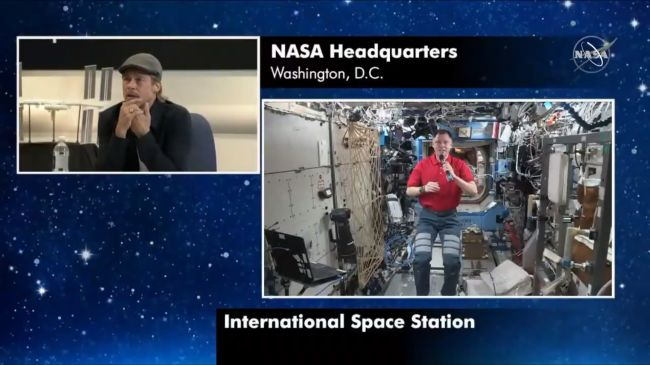BRAD PITT CALLS SPACE STATION ASTRONAUT TO TALK 'AD ASTRA' AND LIFE IN SPACE (VIDEO)