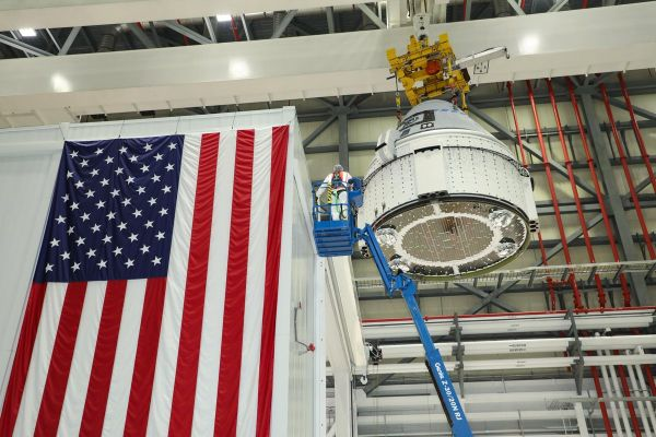 BOEING'S FIRST SPACE-READY STARLINER CREW CAPSULE HEADS TO ITS LAUNCH PAD THURSDAY
