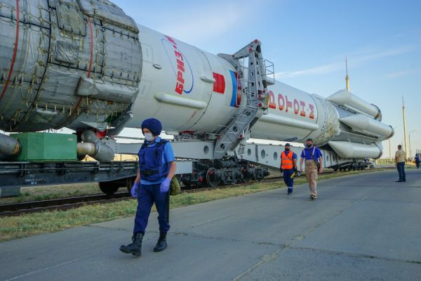 PROTON ROCKET ROLLED OUT FOR LAUNCH WITH TWO RUSSIAN COMMUNICATIONS SATELLITES