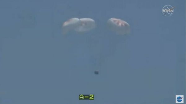 NASA ASTRONAUTS SPLASHDOWN IN SPACEX CAPSULE AS HISTORIC MISSION RETURNS TO EARTH