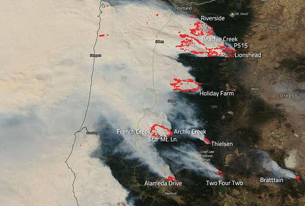 NASA'S AQUA SATELLITE CAPTURES DEVASTATING WILDFIRES IN OREGON