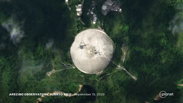 ARECIBO RADIO TELESCOPE, DAMAGED BEYOND REPAIR, SEEN FROM SPACE